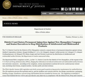Screenshot of Dept. of Justice website